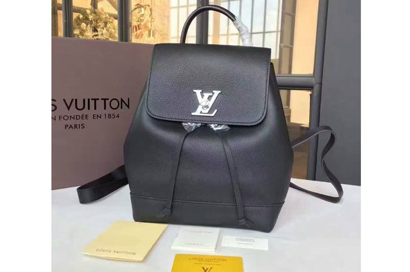 Louis Vuitton Soft Calfskin Lockme Backpack Bag M41815 Black  7c0f2191ddf2e