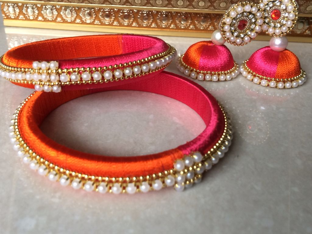 Pink and orange combination silk thread bangles with earrings ...