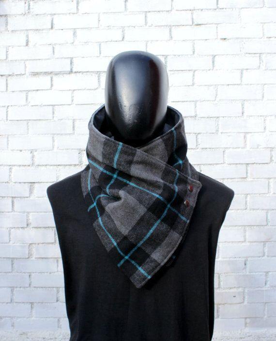 Mens cowl scarf. Unisex scarf. Unisex cowl,Wide, Plaid wool blend and 9ecb567255b