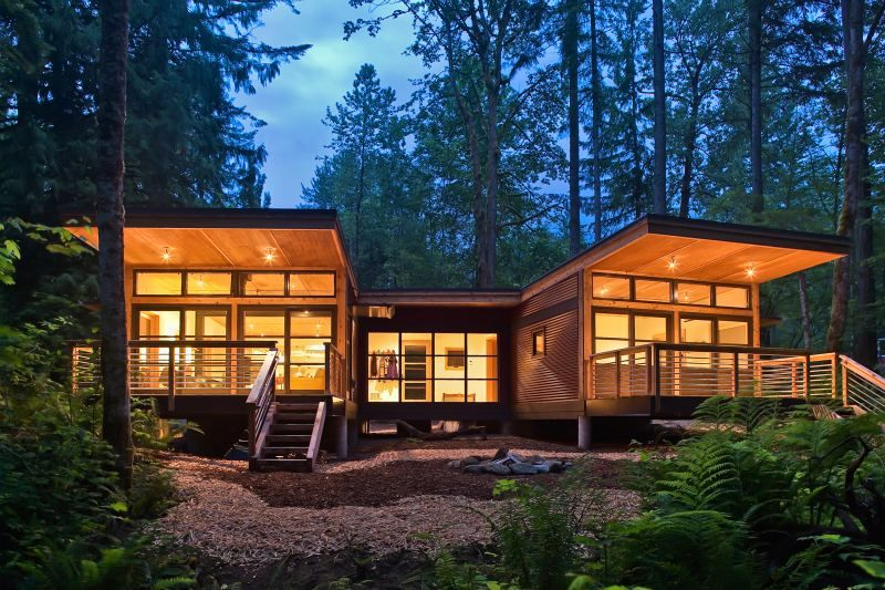 Method homes completes traditional craftsman style doe bay for Modular cabins and cottages
