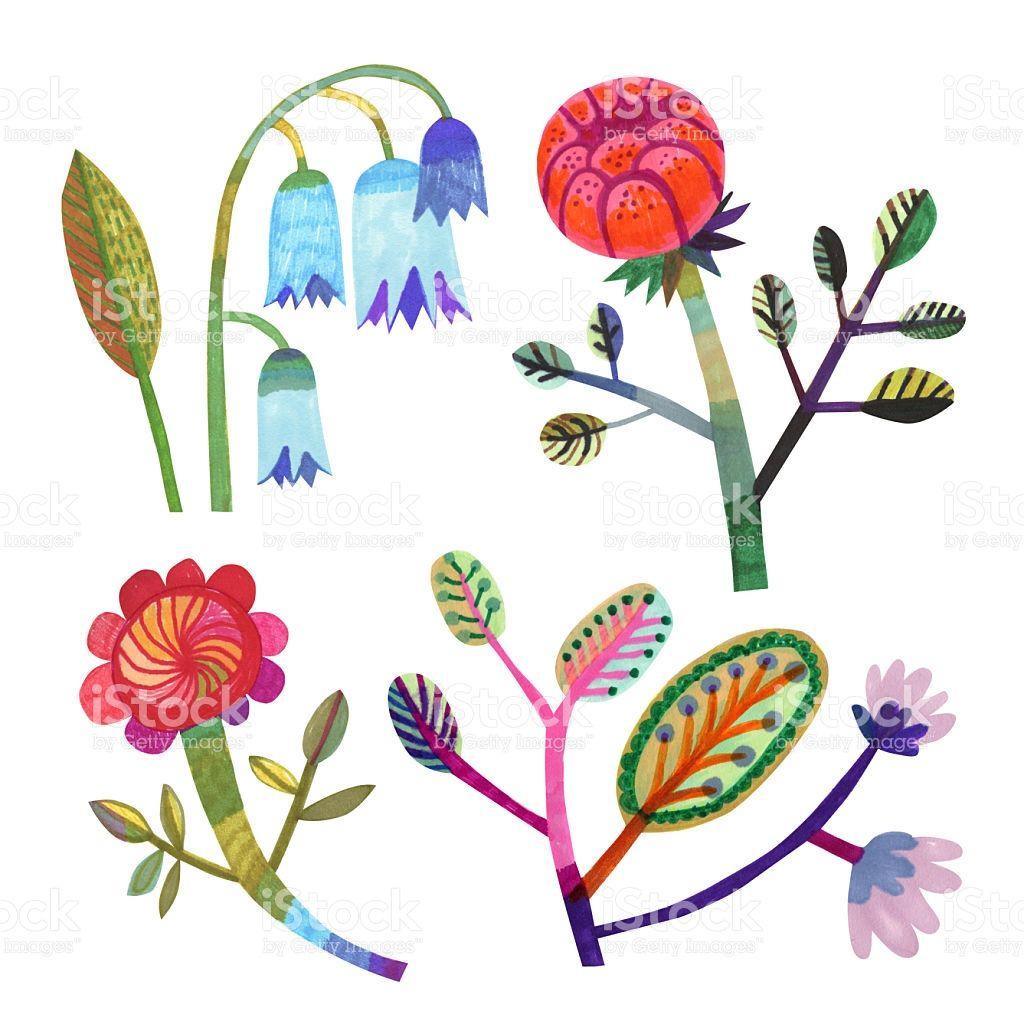 set of hand drawn flowers and plants | 手描きの花、植物、素材