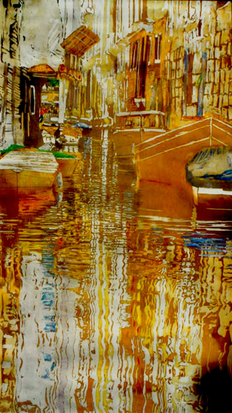 """canal (18) 40"""" x 26""""  venice micheal zarowsky / watercolour on arches paper (private collection)"""