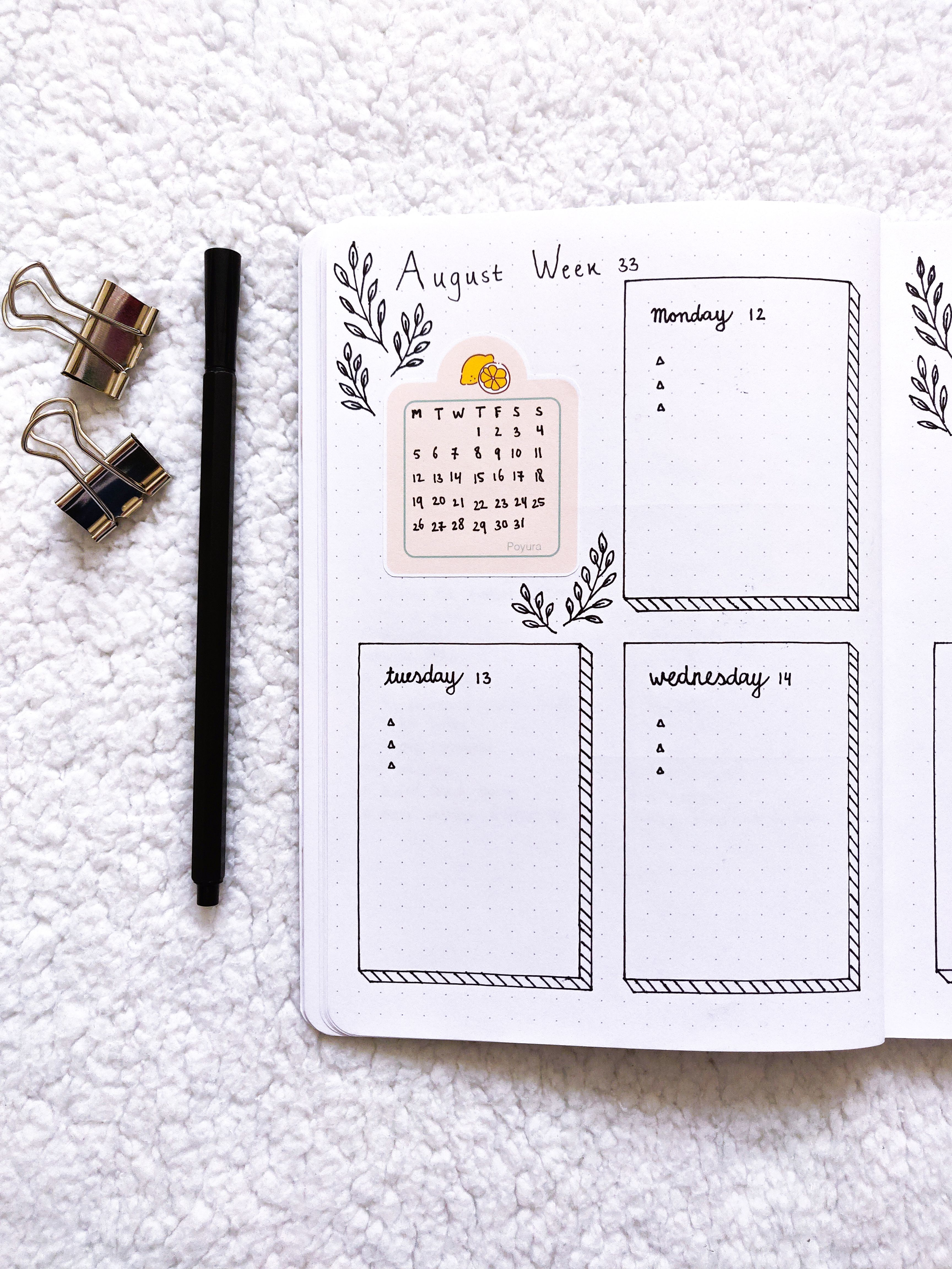 Check out this lemon calendar sticker for in your bullet journal and planner #aestheticnotes