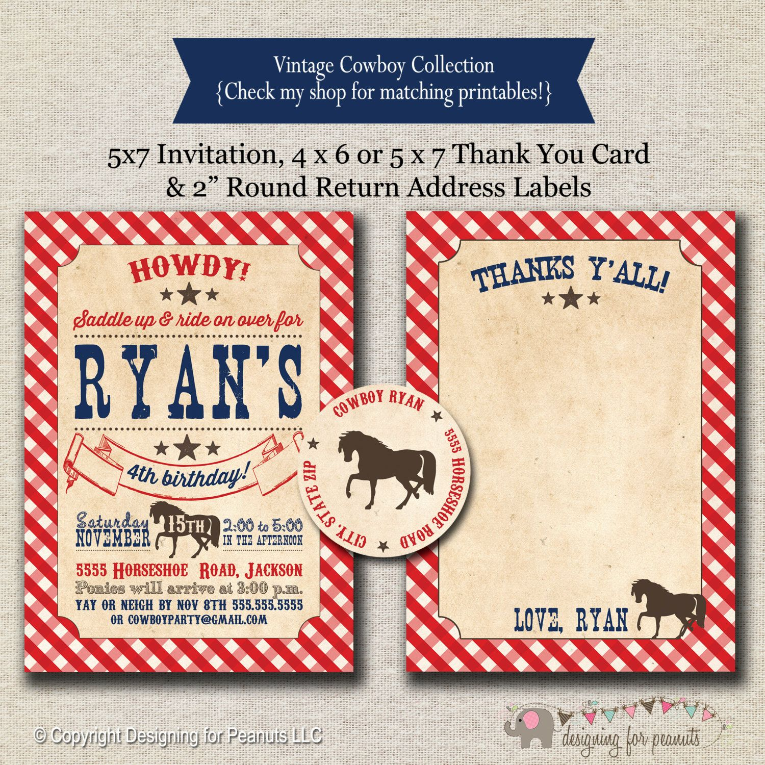 Cowboy Invitation, Thank You Card, Return Address Labels  Red