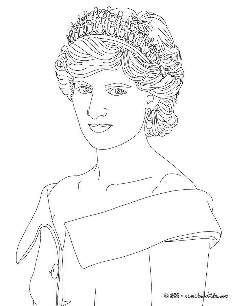 Desenho Da Princesa Diana Da Pais De Gales Para Colorir Desenhos