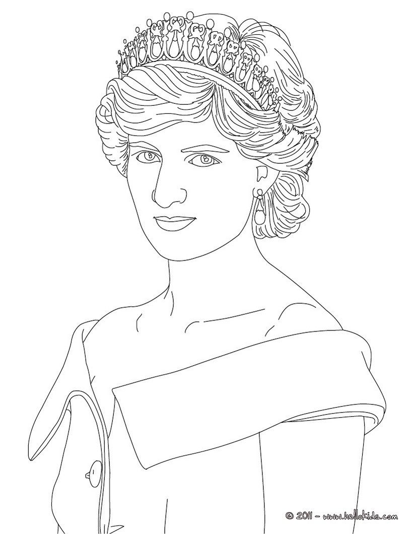Princess Diana Of Wales Coloring Page With Images Princess