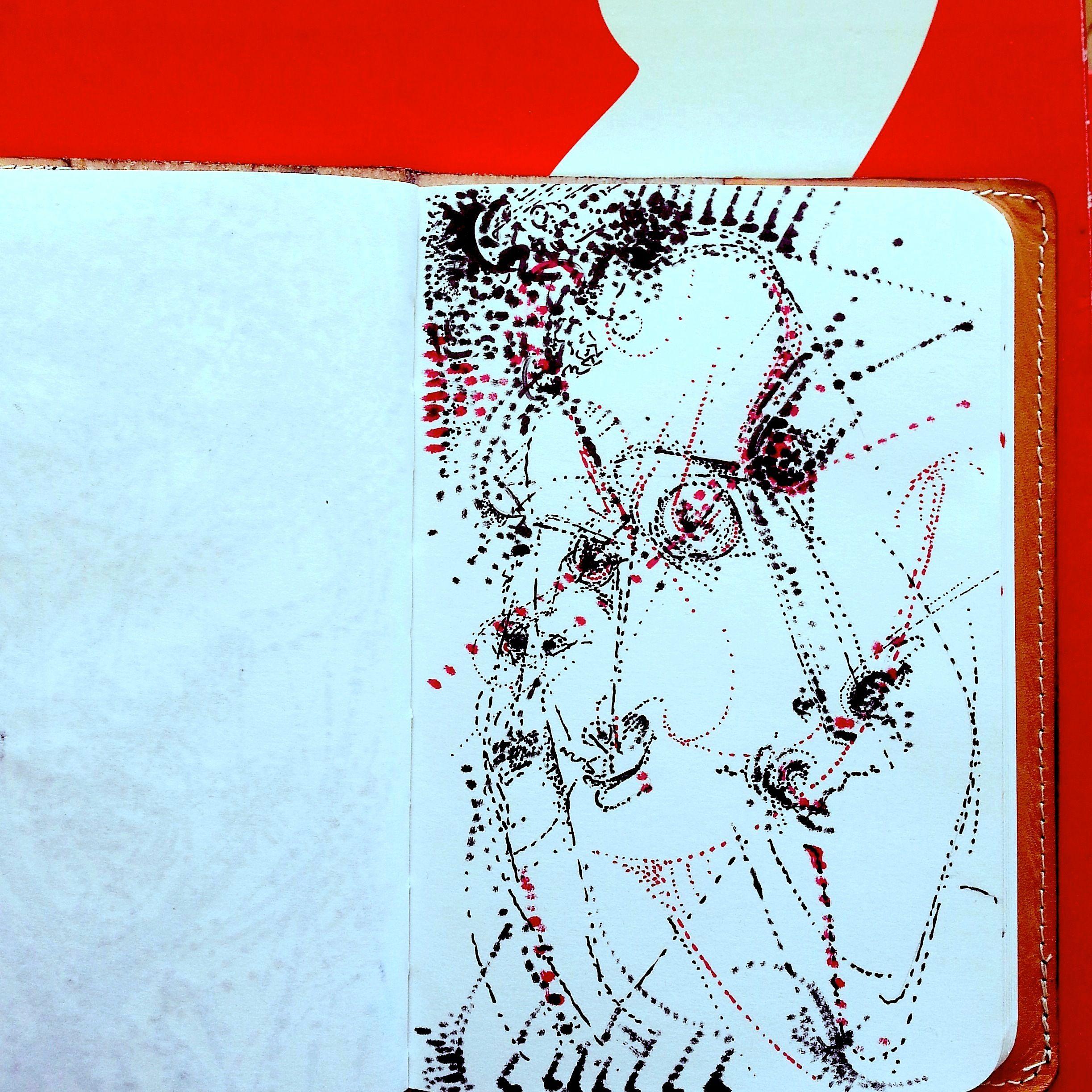 Comedian Alex Nussbaum, ink on paper, April 2015, by MYS. #alexnussbaum #mys #tangentialism