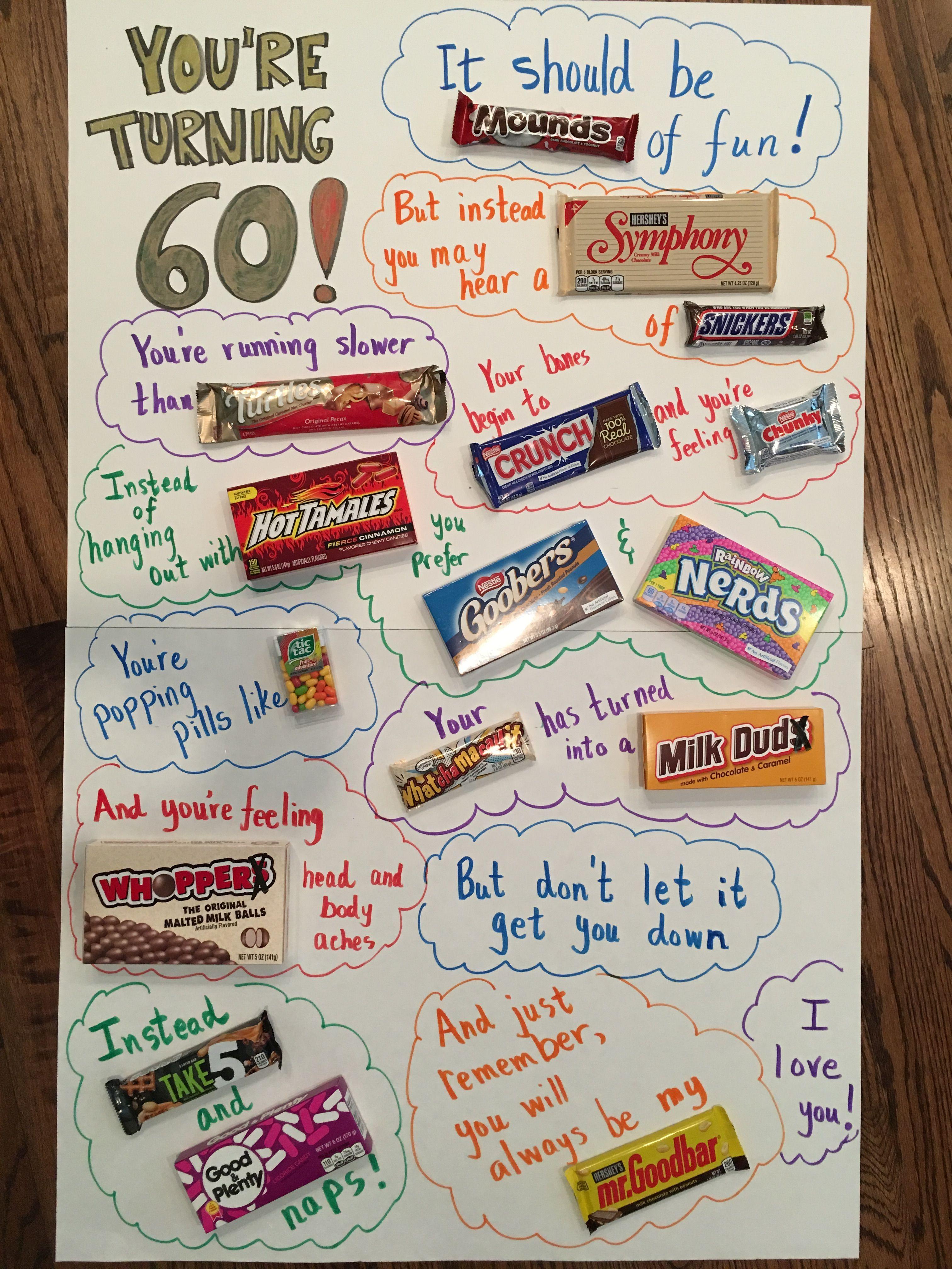 Turning 60 Birthday Poster Candy Birthday Cards Homemade Birthday Gifts Birthday Candy Posters
