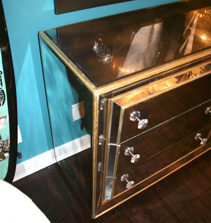 Smoked Mirrored Dresser With Gold Leaf Wood Trim Image 5