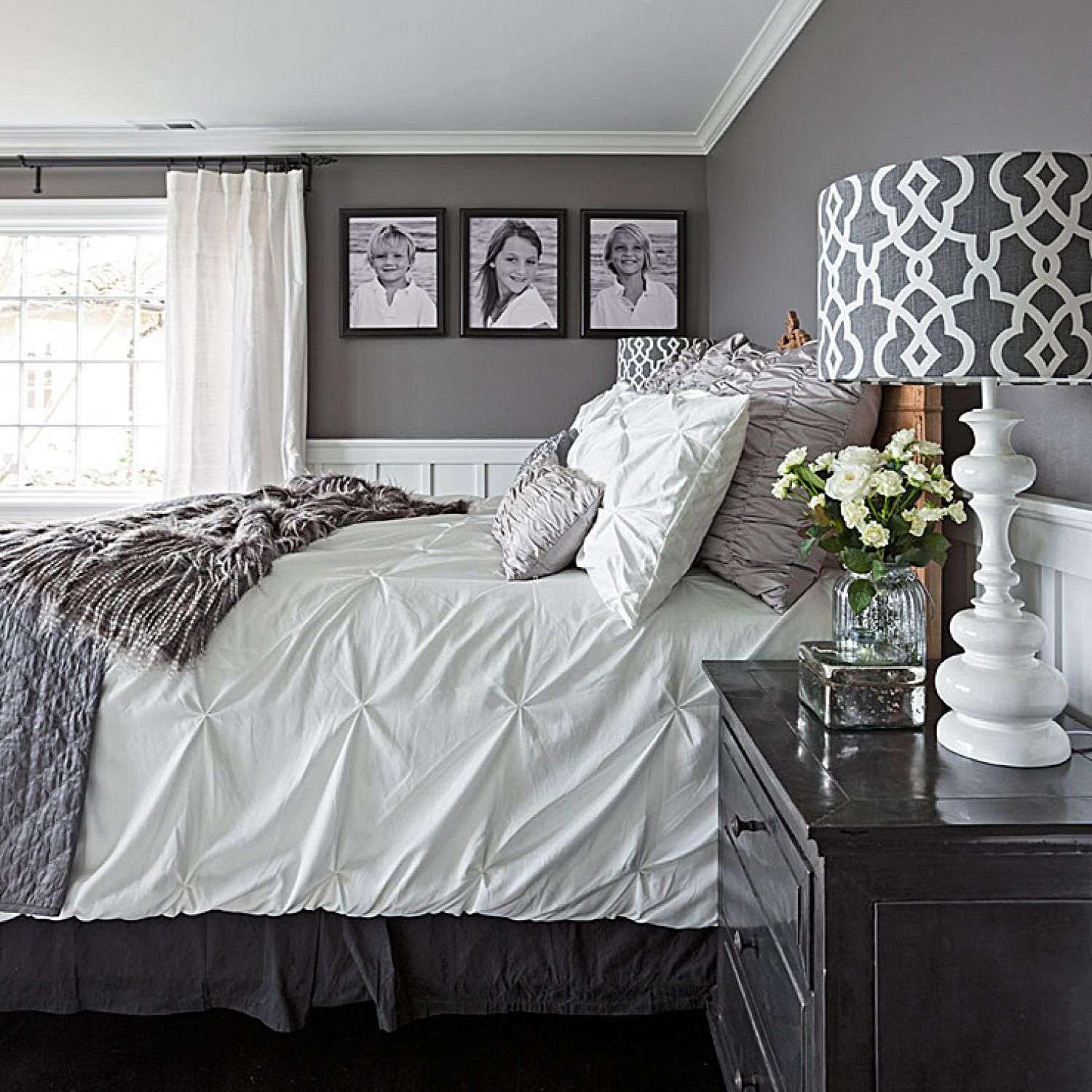 Gorgeous gray and white bedrooms bedrooms pinterest for Black and white romantic bedroom ideas