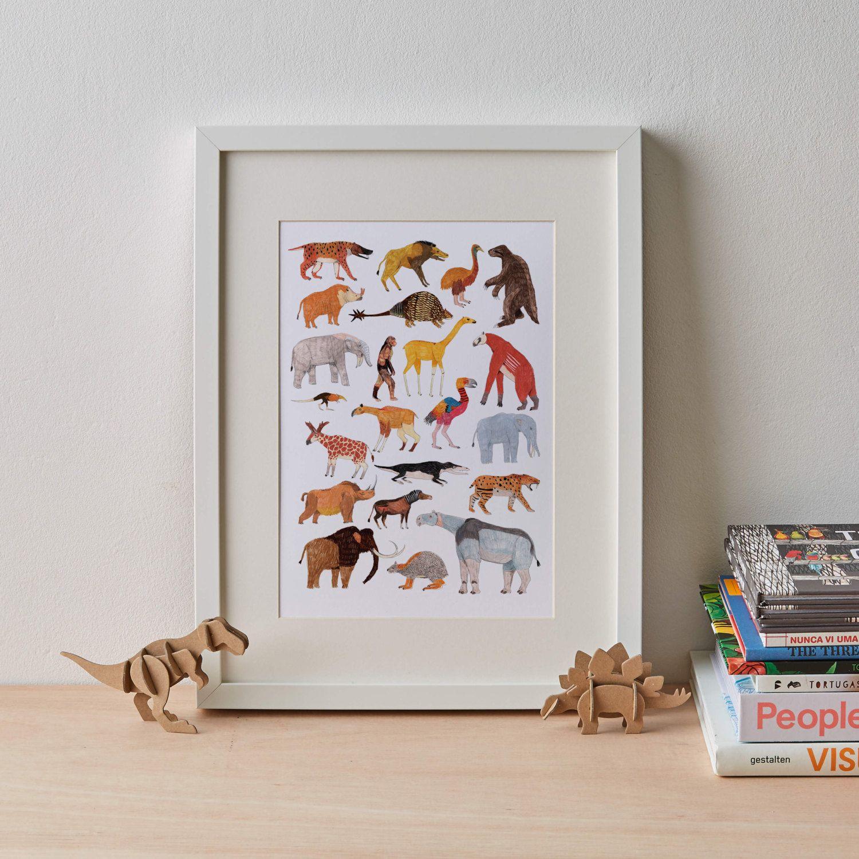 animal print extinct prehistoric print animal print home decor