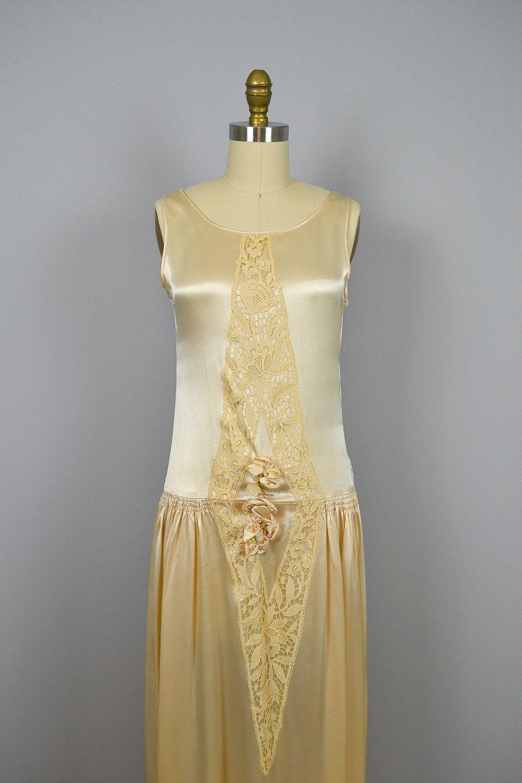 1920s wedding dress / vintage 20s Champagne Silk Charmeuse