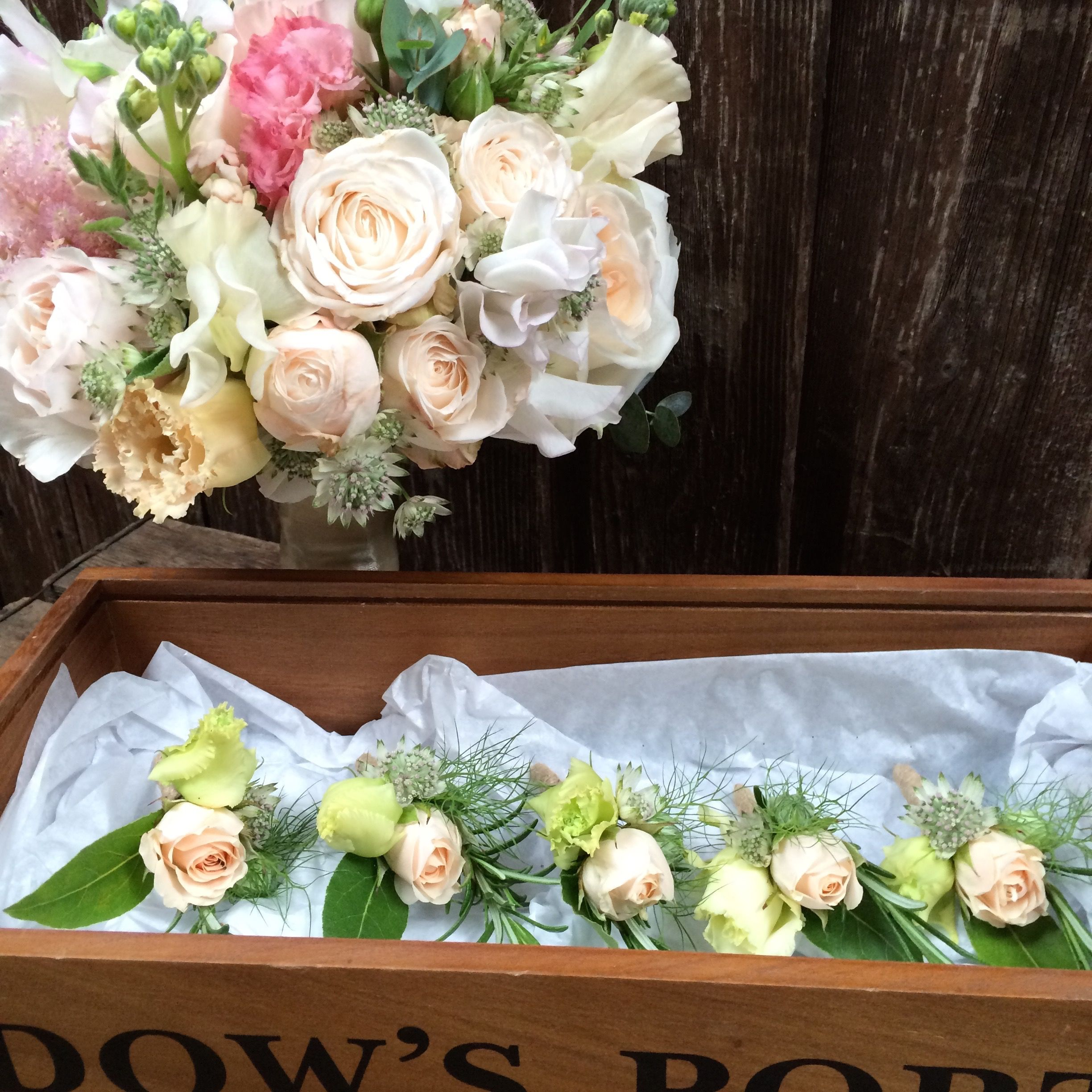 Blush Pink And Cream Bridal Bouquet And Rustic Buttonholes. Sweet Peas,  Peonies, David