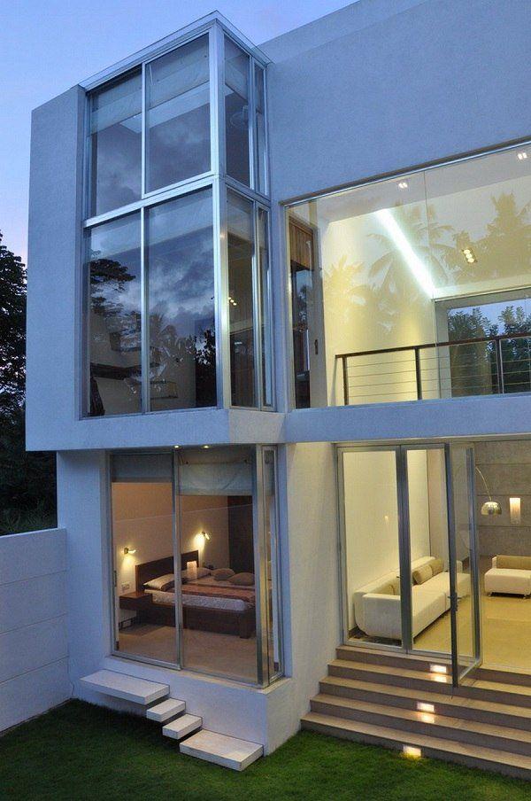 Minimalist House Front Yard Exterior Glass Walls Glass Front Door