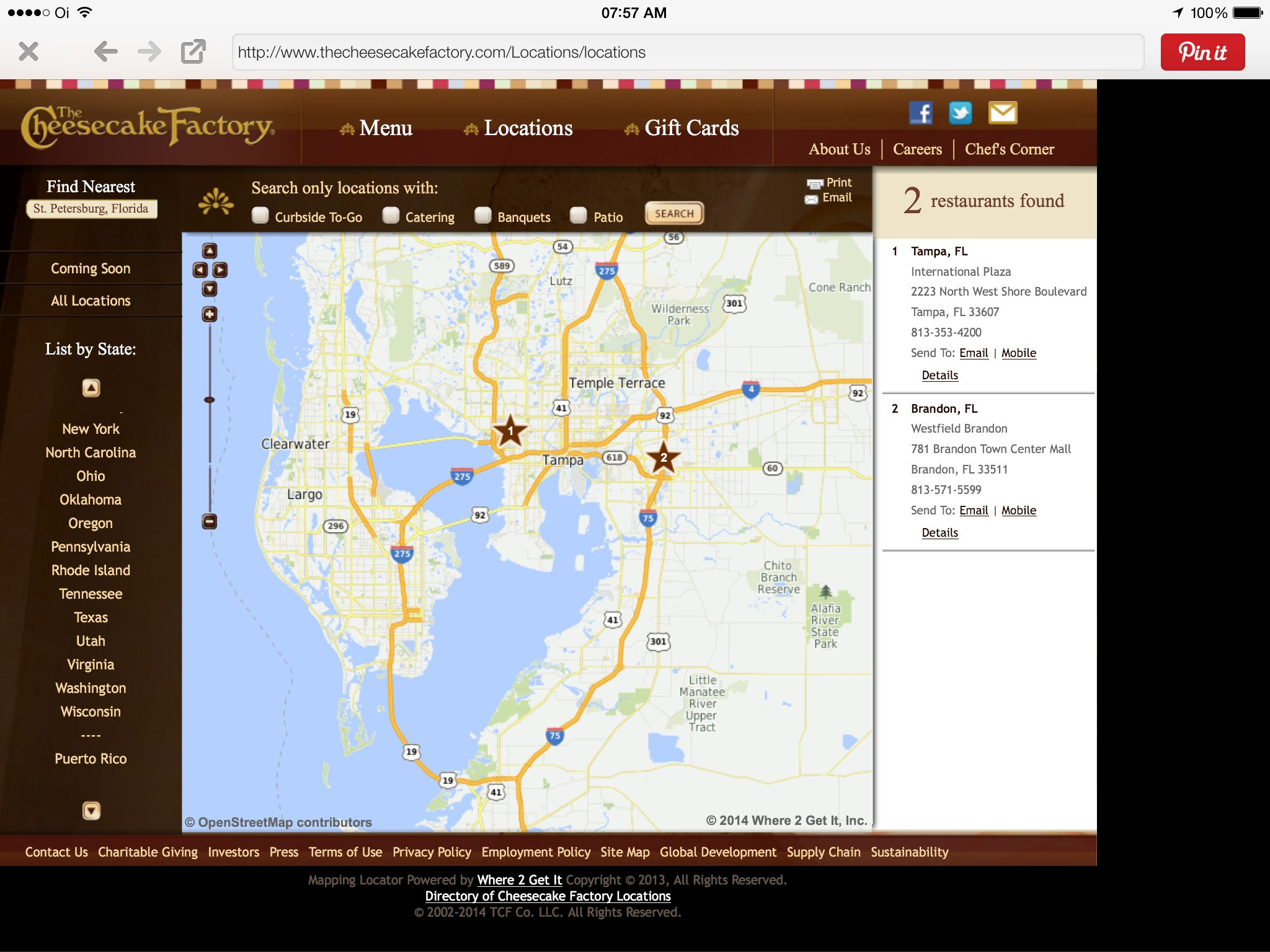 Cheesecake Factory - Tampa/St. Petersburg - Florida   Cheesecake ...