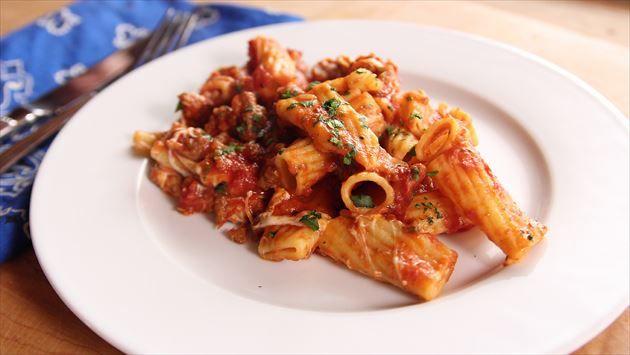 Cheesy Sausage Rigatoni Recipe Rigatoni Recipes Food Network Recipes Sausage Rigatoni Recipes