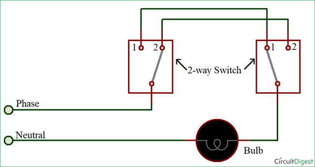 How To Connect A 2 Way Switch With Circuit Diagram Circuit Diagram Light Switch Wiring Switch