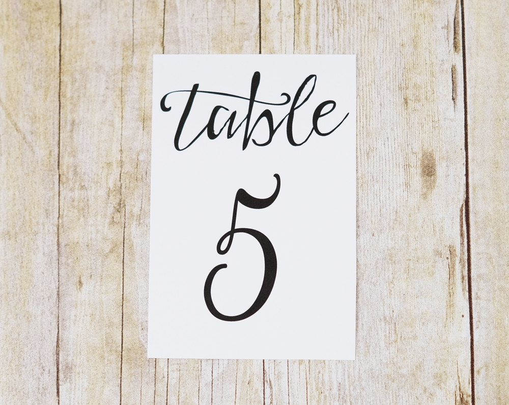 4x6 table number cards printed modern script wedding table numbers