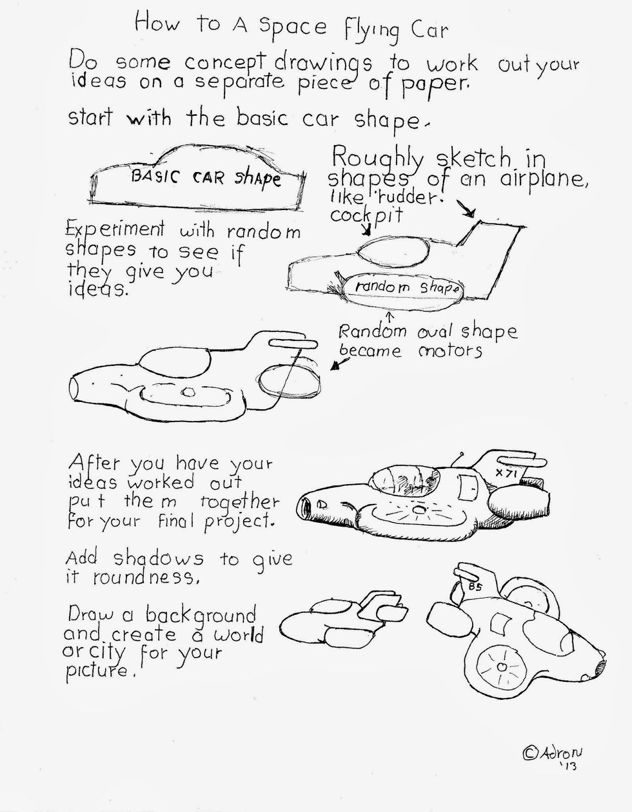 Worksheet To Draw A Futuristic Car