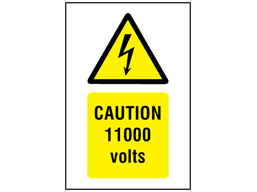 Caution 11000 Volts Symbol And Text Safety Sign Ws3020 Label Source Text Signs Signs Caution