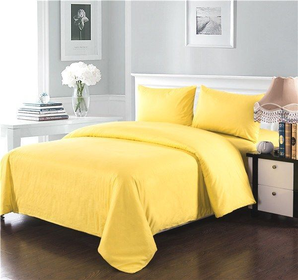 Tache 2 3 Piece 100 Cotton Solid Banana Yellow Duvet Cover Set