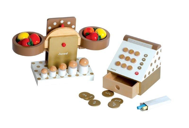 Holzspielwaren für den Kaufladen! Schickes Kaufladenzubehör Kasse und Waage