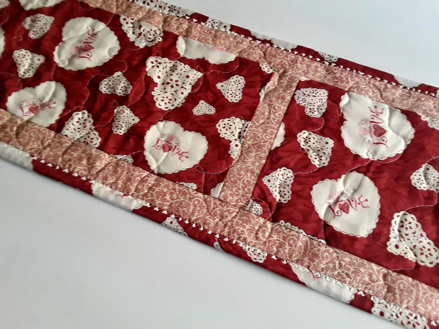 Valentineu0027s Table Runner, Red And White, Hearts, Valentine Tablecloth,  Quilted Table Runner, Quiltsy Handmade
