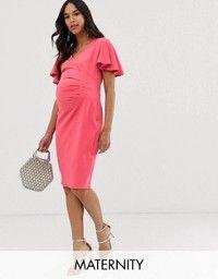 DESIGN Maternity wiggle midi dress in floral print