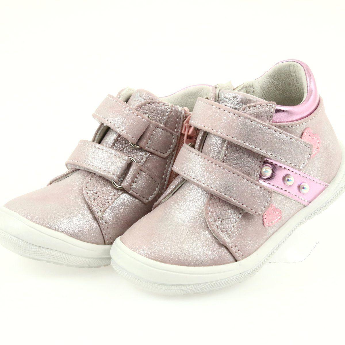 American Club Adi Sportowe Buty Dzieciece W Serduszka American Szare Rozowe Shoes Baby Shoes Wedge Sneaker