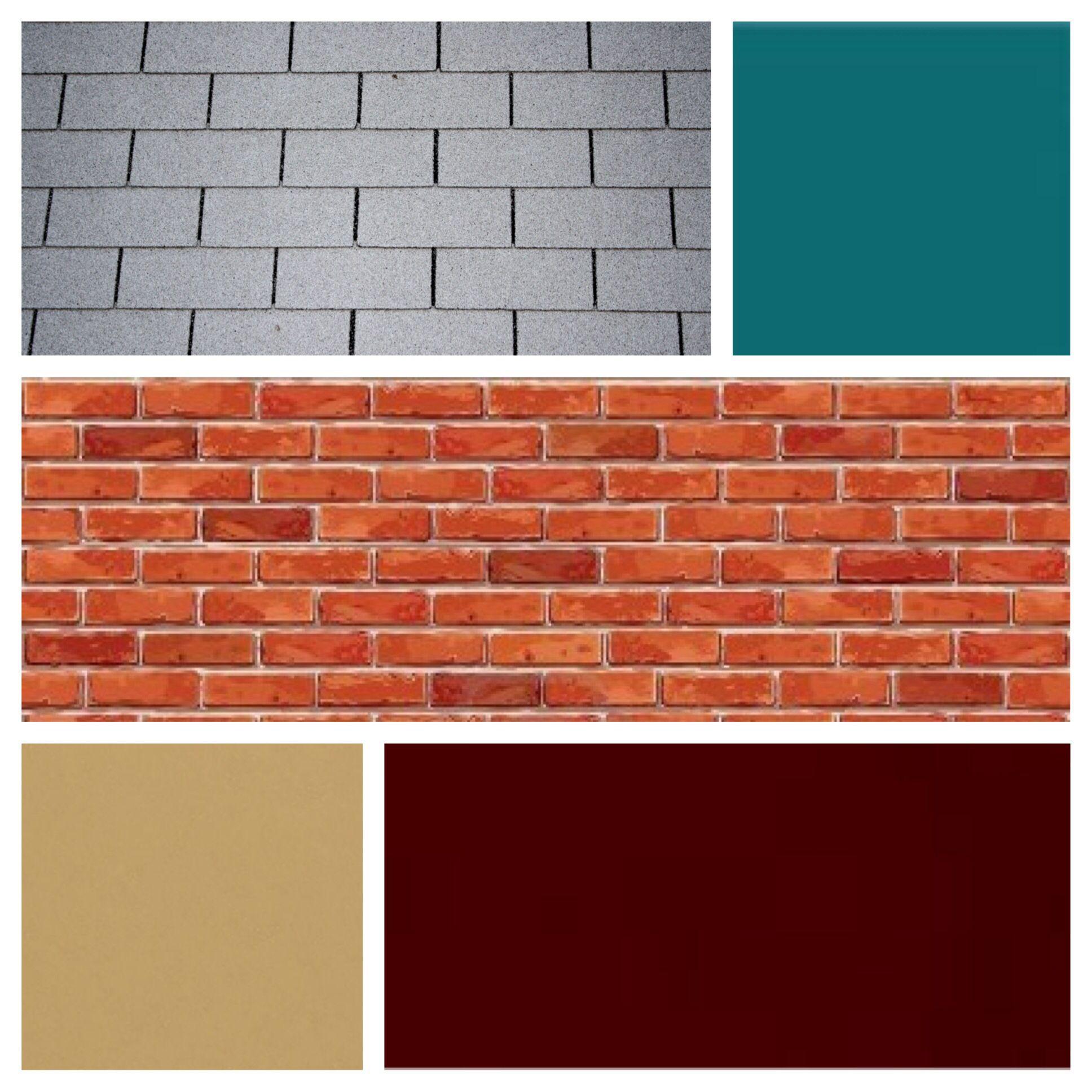 Exterior color scheme for red brick and grey roof burgundy door