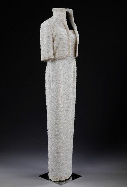 """""""The Elvis Dress"""", state evening ensemble worn by Princess Diana. Designed by Catherine Walker, 1989."""