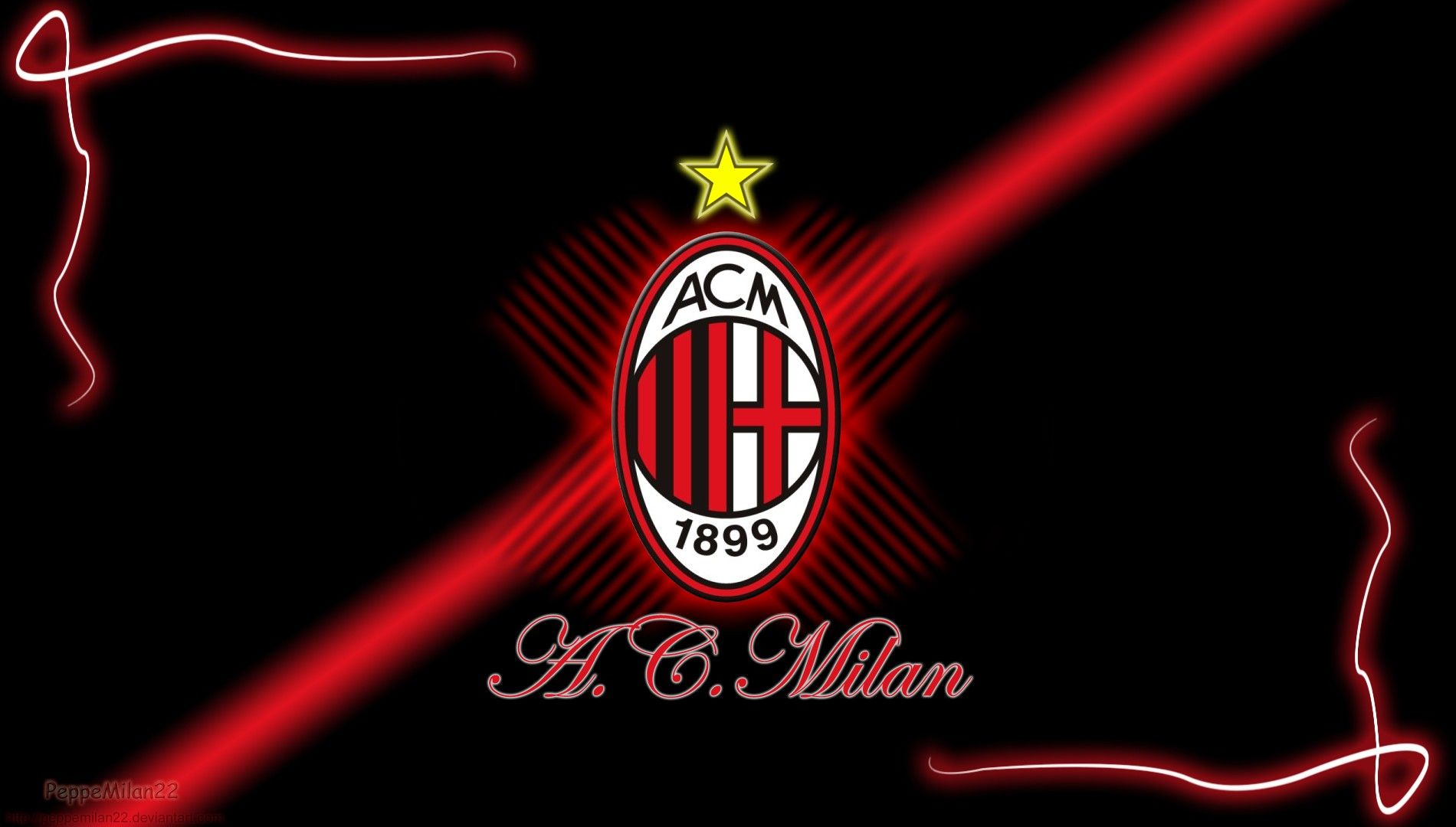 Ac Milan Football Logo Black Background Hd Wallpaper Widescreen