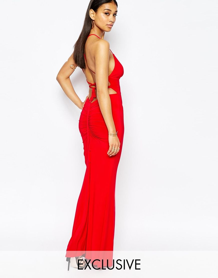 Club L Cami Slinky Maxi Dress With Ruched Detail Back At Asos Com Red Dress Maxi Tall Maxi Dress Ruched Maxi Dress