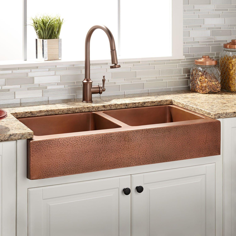 36 Vernon Double Bowl Hammered Copper Retrofit Farmhouse Sink