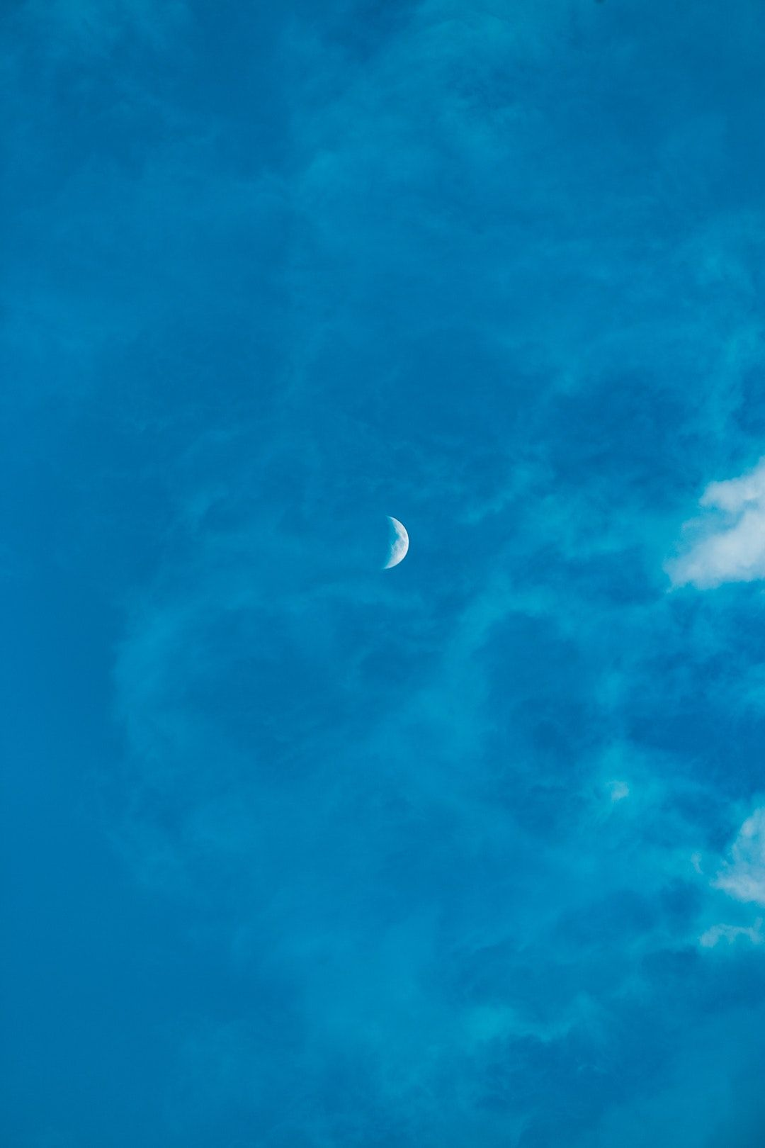 Download This Free Hd Photo Of Blue Sky Cloud And Moon By Kenrick Mills Kenrickmills Blue Sky Moon Blue Sky Clouds Aesthetic Backgrounds Blue Pictures