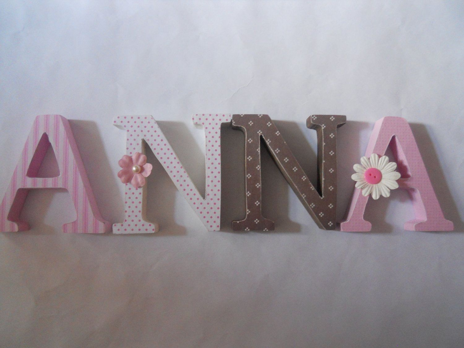 Alphabet Wooden Letters For Nursery In Pink, White And Brown Stand Up, Wall,  Initials