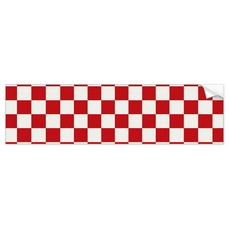Red and White Checkered Pattern Country BBQ Colors Bumper Sticker   Products