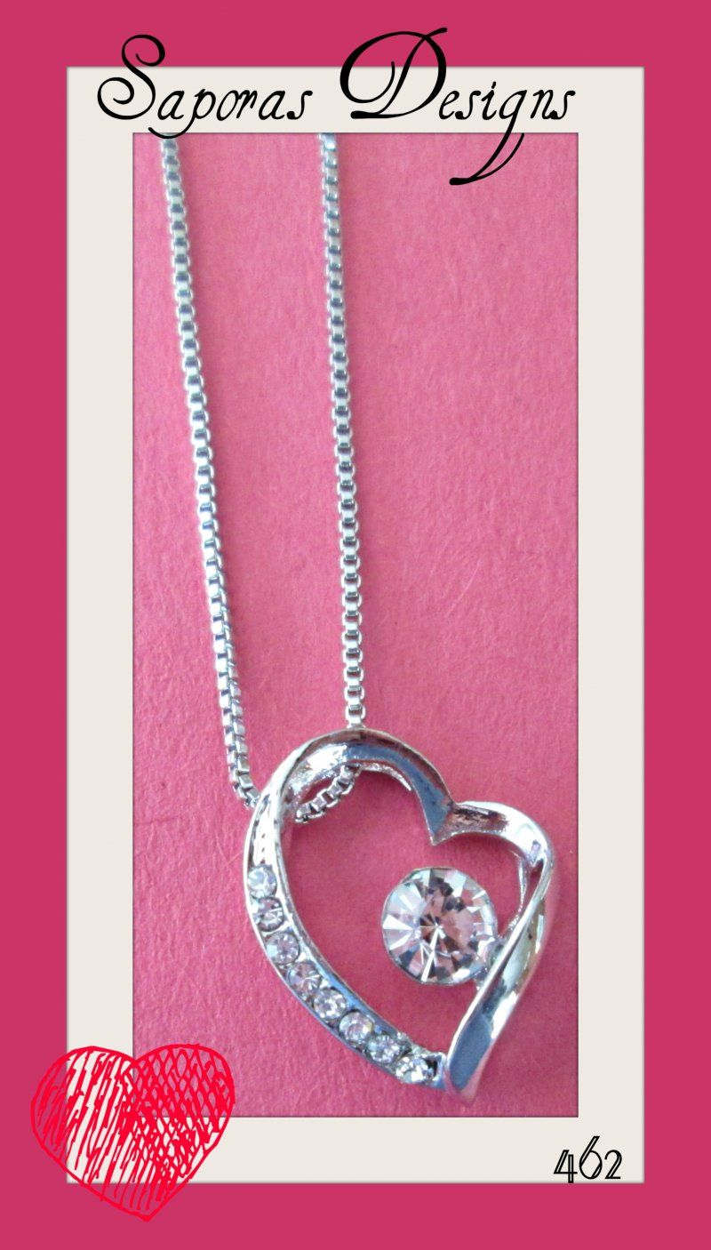 Krp heart design necklace with clear crystals krp heart