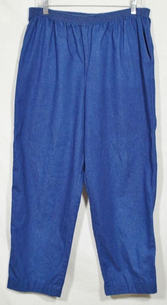 "ALFRED DUNNER BLue Stretch Denim Elastic Waist Jeans Pants 14 Inseam 27"" Casual #AlfredDunner #Relaxed"
