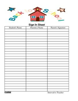 back to school night sign in sheet free