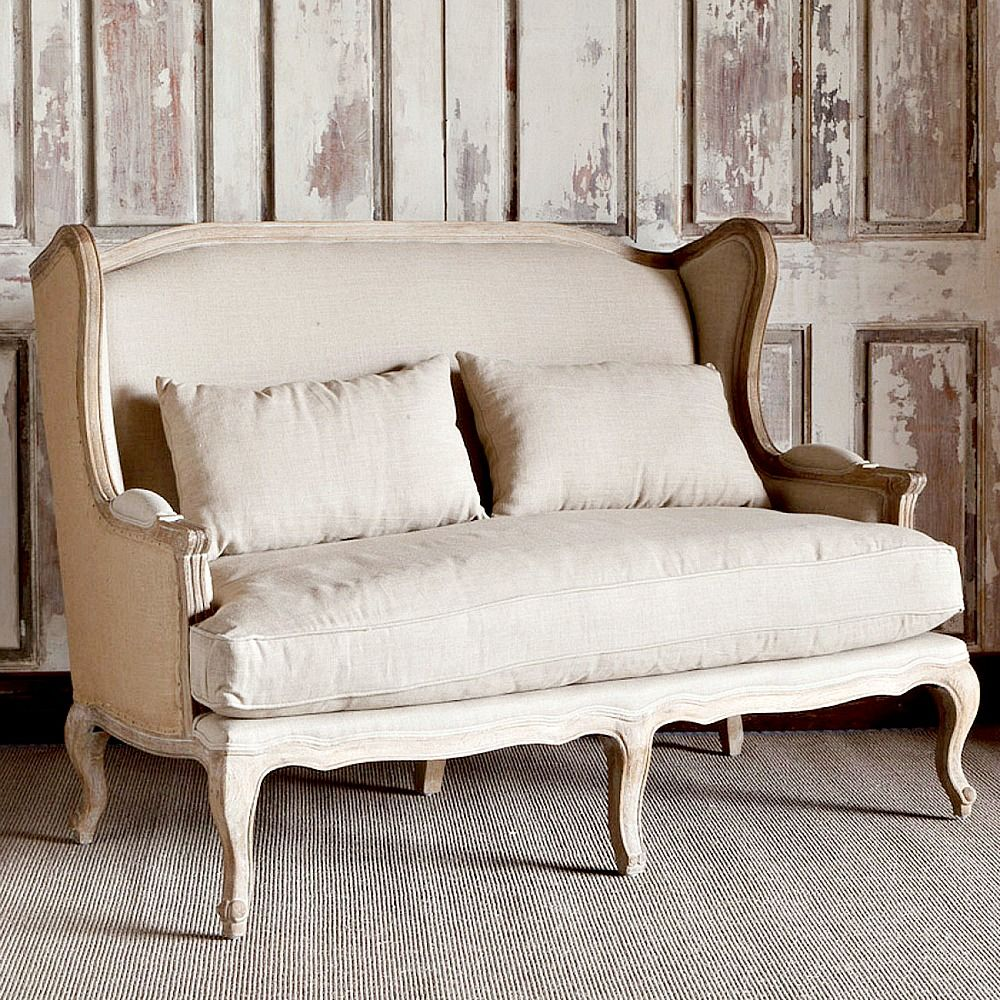 Park Hill Collection Country Linen Burlap Wingback Settee  ~ Cottage Sofa Slipcovers