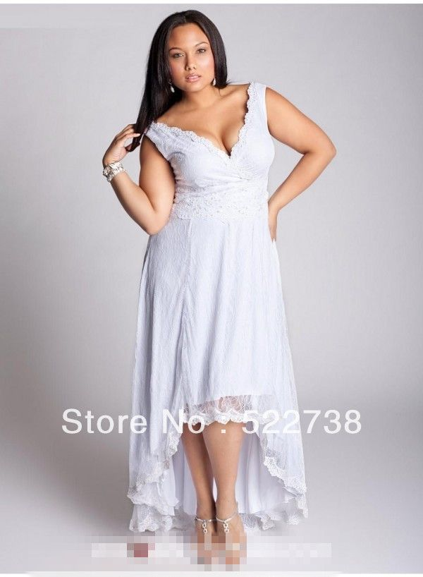Plus Size Short Lace Wedding Dress Satin Lace Backless Wedding