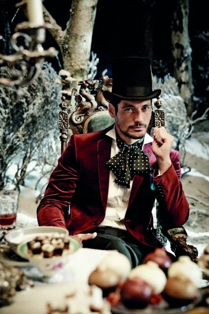 David Gandy sits at a feasting table in the M&S Christmas advert