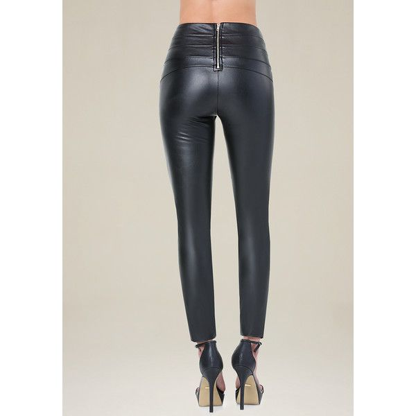 16713c445299b4 Bebe Women's Faux Leather High Leggings ($79) ❤ liked on Polyvore featuring  pants, leggings, back zip pants, rear zipper pants, fake leather pants, ...