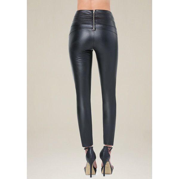 c02cc8b08c46d Bebe Women's Faux Leather High Leggings ($79) ❤ liked on Polyvore featuring  pants, leggings, back zip pants, rear zipper pants, fake leather pants, ...