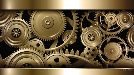 Steampunk Gold Apparatus Gold Mechanical Sprockets