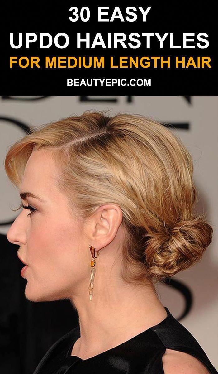 Updo hairstyles for medium length hair easyhairstyles easy