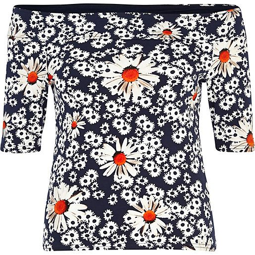 Navy daisy print bardot top #riverisland