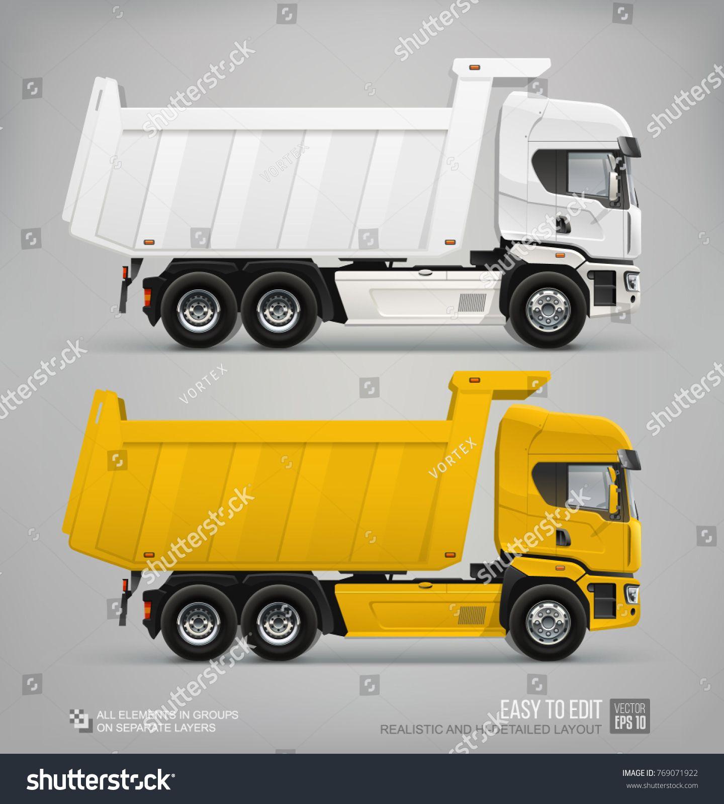 Realistic Dump Truck Vector Template White And Yellow Cargo Dump Truck Industrial Dumper Vehicle Mockuptemplate White Yellow Vecto Trucks Dump Truck Vehicles