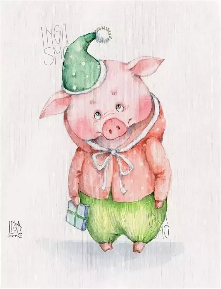 Открытки для, открытка со свинкой